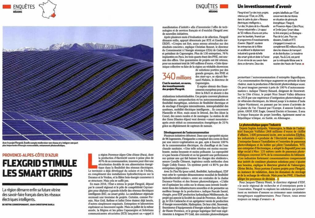 Flexgrid et EllyBox dans l'Usine Nouvelle - autoconsommation solaire